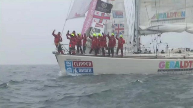 Sailors aboard a yacht bound for the Clipper Round-the-World race