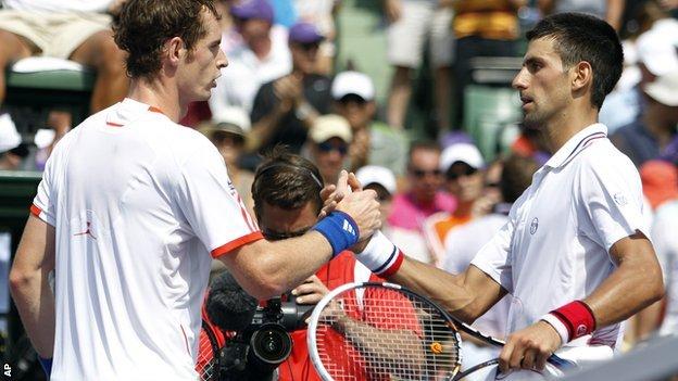 Andy Murray congratulates Novak Djokovic