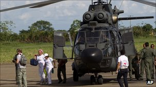 Brazil has provided the Red Cross with helicopters to collect the hostages