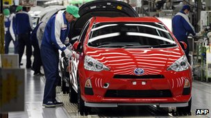 Workers at Toyota factory in Japan
