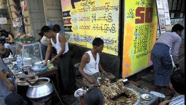 Rangoon street sellers