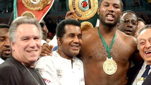 Archive: Emanuel Steward celebrates with former heavyweight champion Lennox Lewis