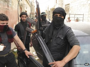 Free Syrian Army fighters in Damascus (1 April 2012)