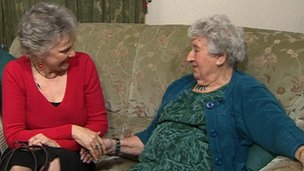 Angela Young, the Countess of Rothes's great granddaughter (left) meeting Nell Jones (right)