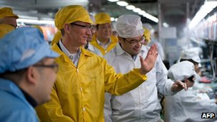 Apple boss Tim Cook visits a Foxconn manufacturing facility in Zhengzhou, China