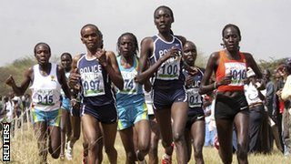 Linet Masai (number 100) wins at the Kenyan Cross Country Championships