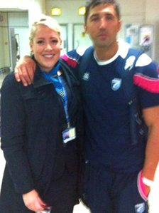 Molly Caton posted this photo on Twitter of her and Henson at Glasgow Airport