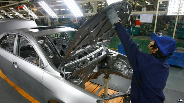 Workers in a Geely factory
