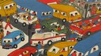 A Weya art exhibit showing traffic in Harare - on display at Zimbabwe's National Gallery