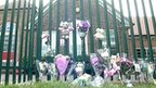 Floral tributes outside school