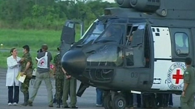 Colombian hostages and rescue helicopter