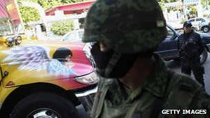 Mexican soldier at site of suspected drug execution in Acapulco. Feb 2012
