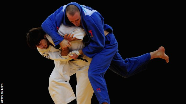 Great Britain judo star Matthew Purssey in action