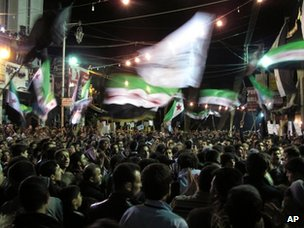 Anti-government protest in a district of Damascus (2 April 2012)