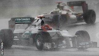 Michael Schumacher's Mercedes during the Malaysian Grand Prix