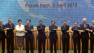 Southeast Asian leaders pose for a group photo during the 20th Association of South east Asian Nations summit in Phnom Penh