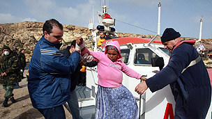 Refugee disembarking in Malta