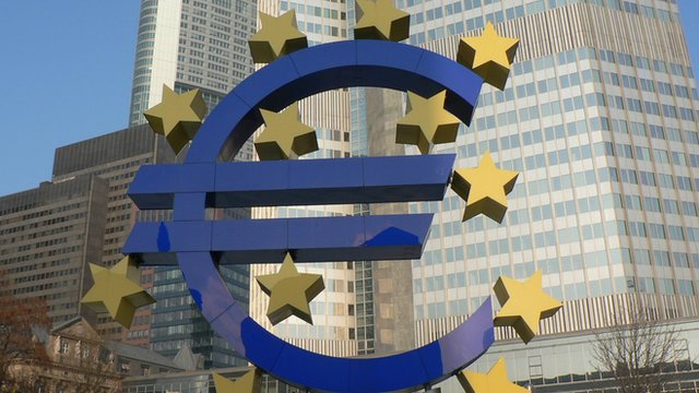 Euro logo sign out the ECB in Frankfurt