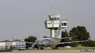 Plane on tarmac in Tripoli - file pic