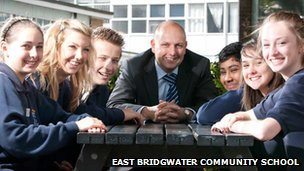 Head teacher Peter Elliott with students at East Bridgwater Community School