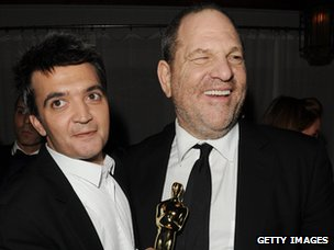 Thomas Langmann and Harvey Weinstein at The Oscars