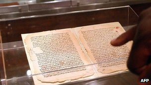 Sixteen historic scripts from the ancient African town of Timbuktu. The Mali Manuscripts are publicly exhibited at a gallery in Johannesburg 01 October 2005.