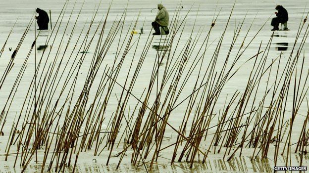Ice fishermen in Moldova