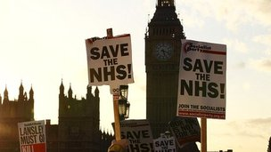 Archive image of protests against the NHS changes in London