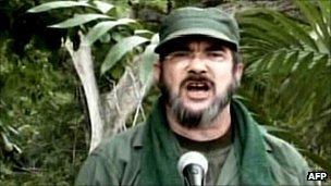 Farc leader in a video grab from Venezuela's Telesur TV in 2008