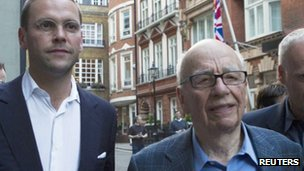 James and Rupert Murdoch in London (Feb 2012)