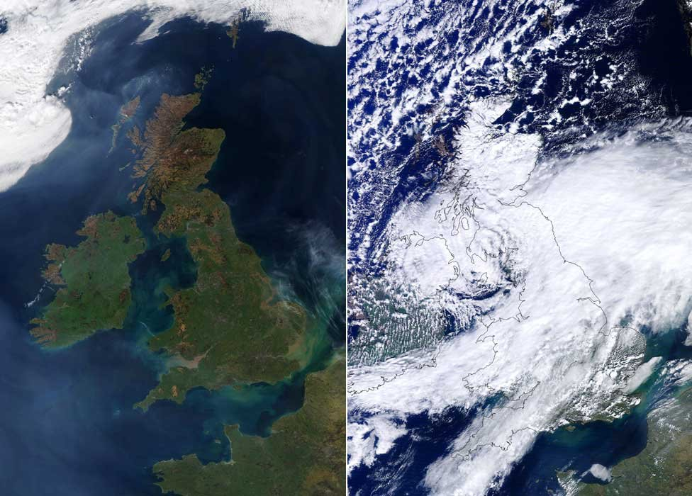 satellite image showing cloud free UK on 27 march and the weather on 3 april