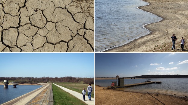 Montage of four images featuring dried out or drying reservoir beds
