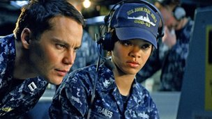 Taylor Kitsch and Rihanna in Battleship