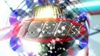"""A colourful disco ball surrounded by glittering CDs frames the text """"1990s""""."""