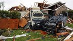 Damage in residential Dallas neighbourhood of Lancaster