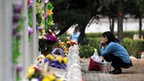 A Chinese woman prays at the tomb of a family member at a cemetery in Beijing, 3 April 2012