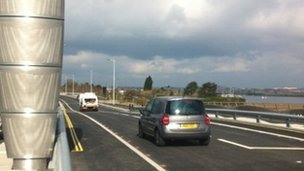 First traffic on Twin Sails bridge