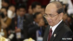 Burmese President Thein Sein, pictured in Cambodia on 3 April 2012