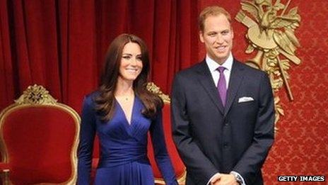 Waxwork of the Duke and Duchess of Cambridge