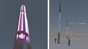 Artist's impression of Veils of Light installation on Weymouth seafront
