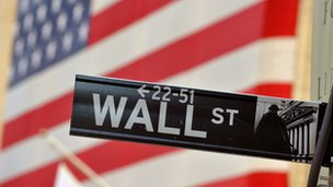 Wall Street sign in front of US flag