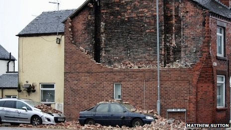 Side wall of a house which collapsed in high winds in Scot Hay Road, in Alsagers Bank, Stoke-on-Trent