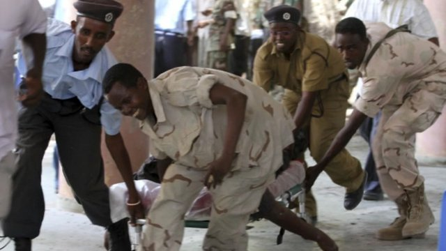 Injured man at Mogadishu national theatre