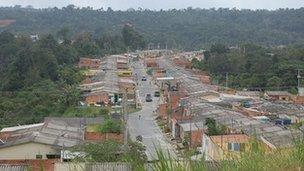 City development encroaching on rainforest
