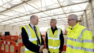 From left: Andy Garner, BAA London 2012 director, Jonathan Edwards, Normand Boivin, Heathrow Airport Chief Operating Officer, pic courtesy of BAA