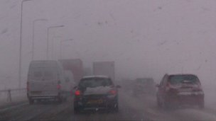 Snow on M62