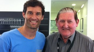 Red Bull's Mark Webber with former driver Norm Beechy