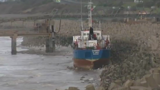 MV Carrier aground at Llanddulas, north Wales