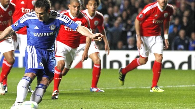 Frank Lampard scores for Chelsea against Benfica