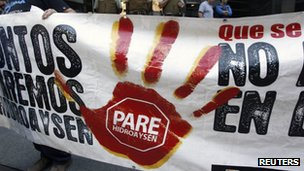Banner opposing the construction of the HidroAysen dam in Patagonia at a protest on 14 March 2012